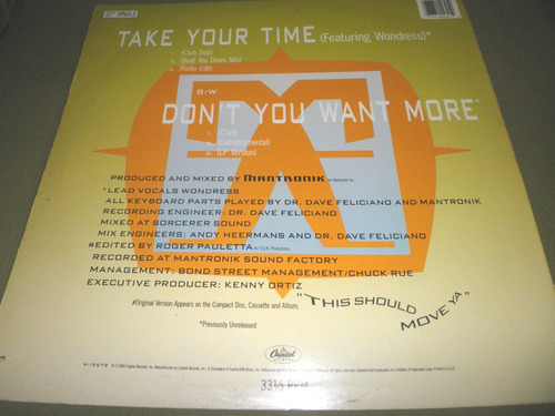 12'' remix mantronix - take your time / don't you want more