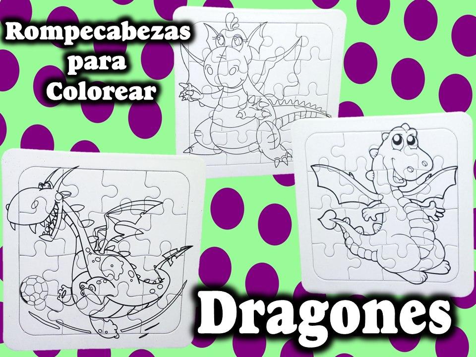 12 Rompecabezas Para Colorear Dragones Regalos Fiesta Infant