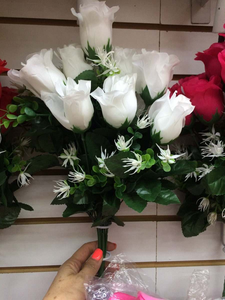 12 Rosas Artificiales En Ramo Blancas Rosas Menta Rojas 6500 En - Imagenes-de-ramos-de-rosas-blancas