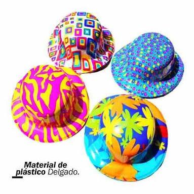 12 Sombreros Bombín Plastico Neón Fiesta Eventos Batucada -   55.00 ... f1e651ea509