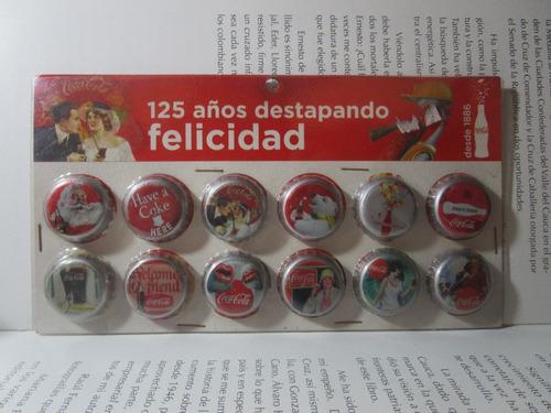 12 tapas chapa tapa de coleccion coca cola 125 años 2011