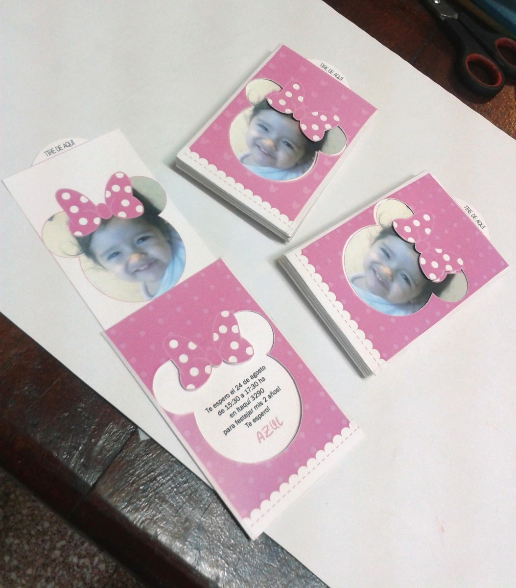 12 Tarjetas De Invitacion Minnie Mouse