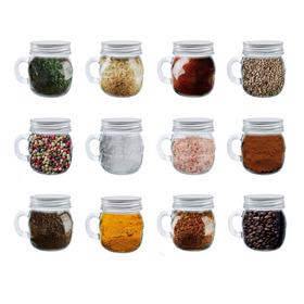 12 Tarros Vidrio Especieros Tapa Mason Jar Frascos 300ml