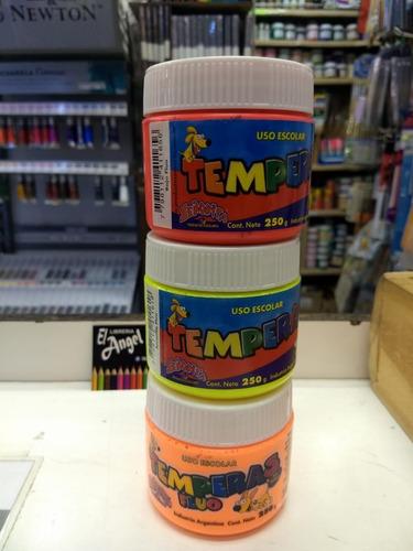12 temperas fluo pote 250 ml varios colores temple