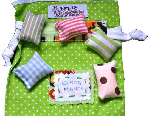 12 unidades de jogos 5 marias ou 5 manés em tecido saquinho