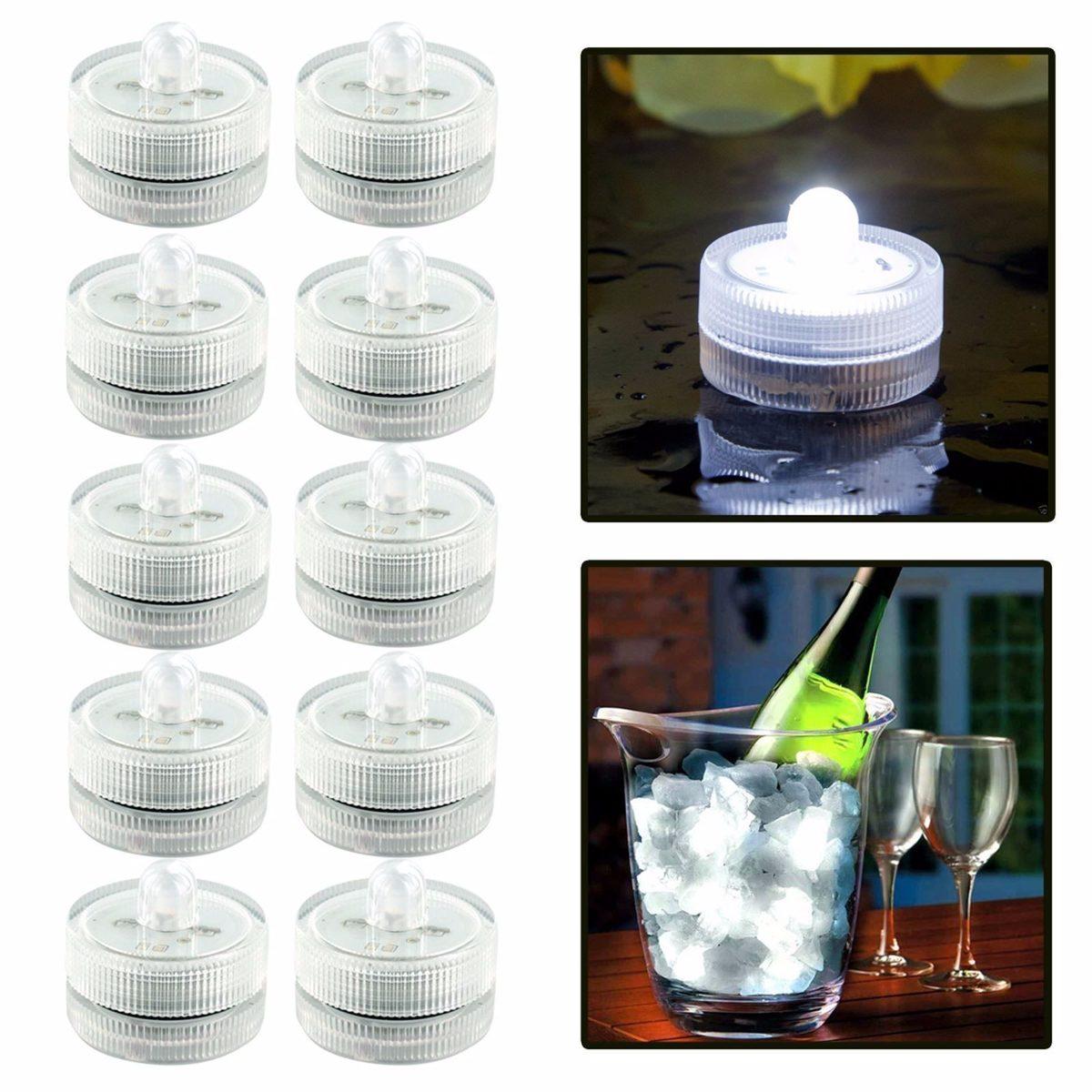 12 Velas Led Sumergible Luz Blanca Arreglos Decoraci 243 N
