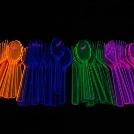 12 x  cucharas neón ideal para tu evento 100% diversión