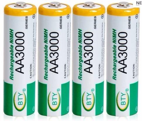 12 x pilas baterias aa recargables de nimh de 3000 mah inmed