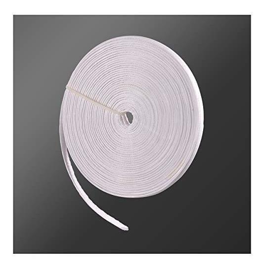 Algodón cubierto de poliéster deshuesado Blanco 12mm de ancho.