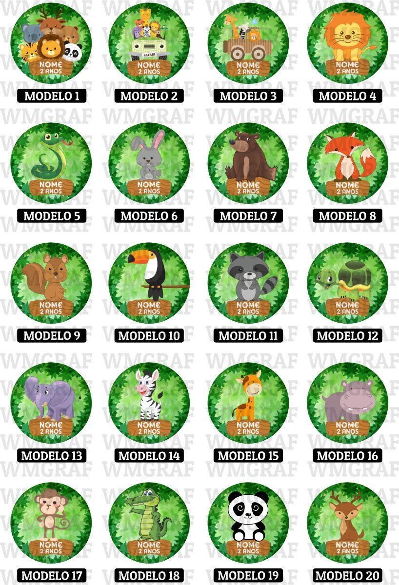 120 Adesivos Animais Safari Floresta Zoo Personalizados 4 Cm R