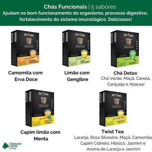 120 cápsulas compatíveis nespresso chá aroma