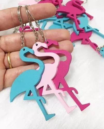 120 chaveiros de flamingo mdf festa aniversario aloha havaí