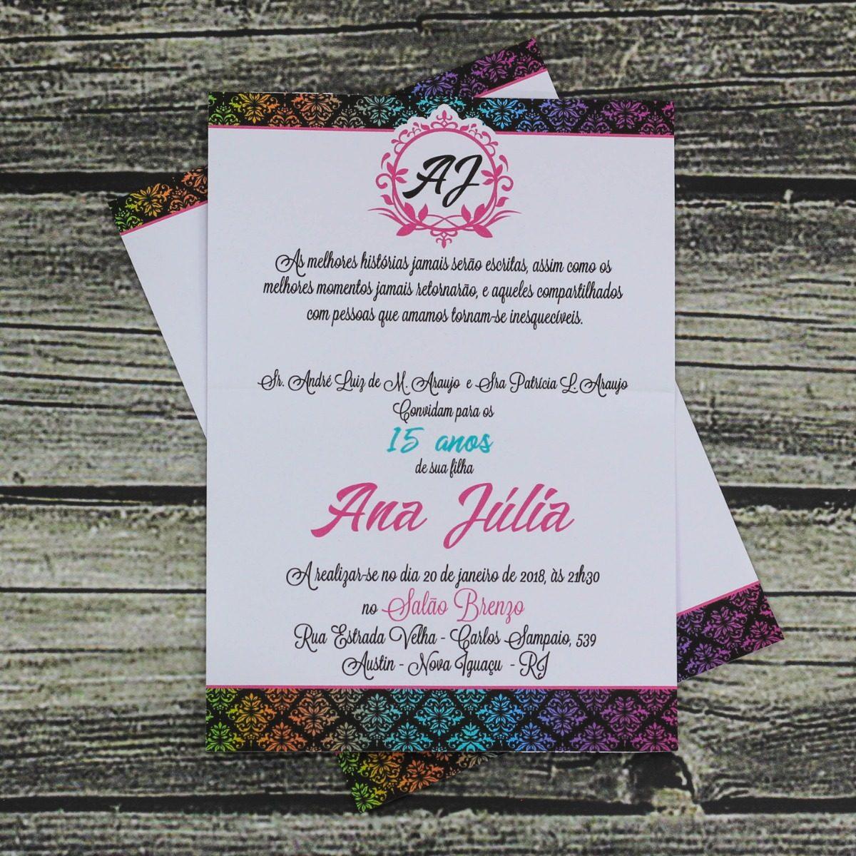 a92161cd6 120 Convites 15 Anos Neon Convite Debutante 15 Anos Barato - R  147 ...