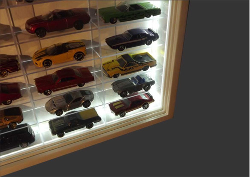 120 + led + nichos acrilicos - hot wheels -1;64 - miniaturas