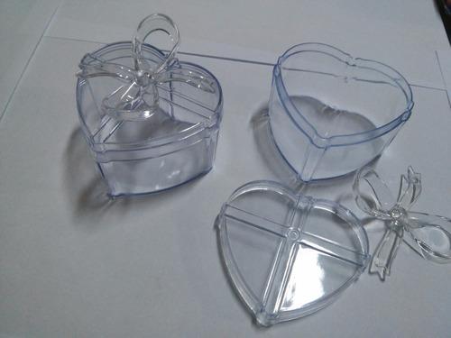 120 peças caixinha acrílico coração p/ bem-casado  c/ laço