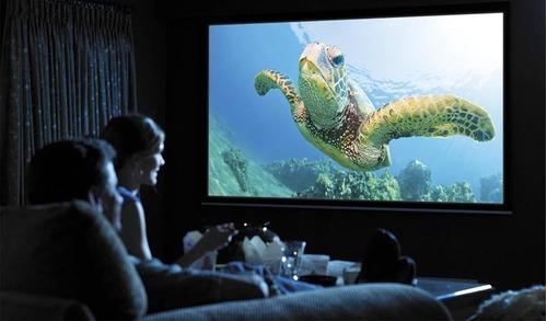 120'' pulgadas electrica pantalla proyector hd 16:9 remoto
