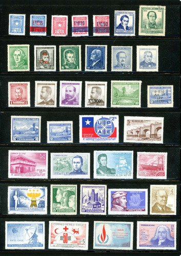 120 sellos postales de chile, de colección, nuevos, mint.