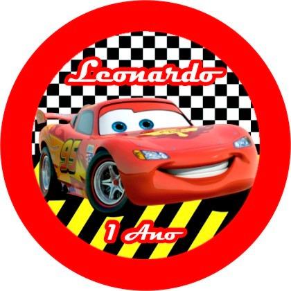 120 toppers personalizados - tema carros mcqueen disney