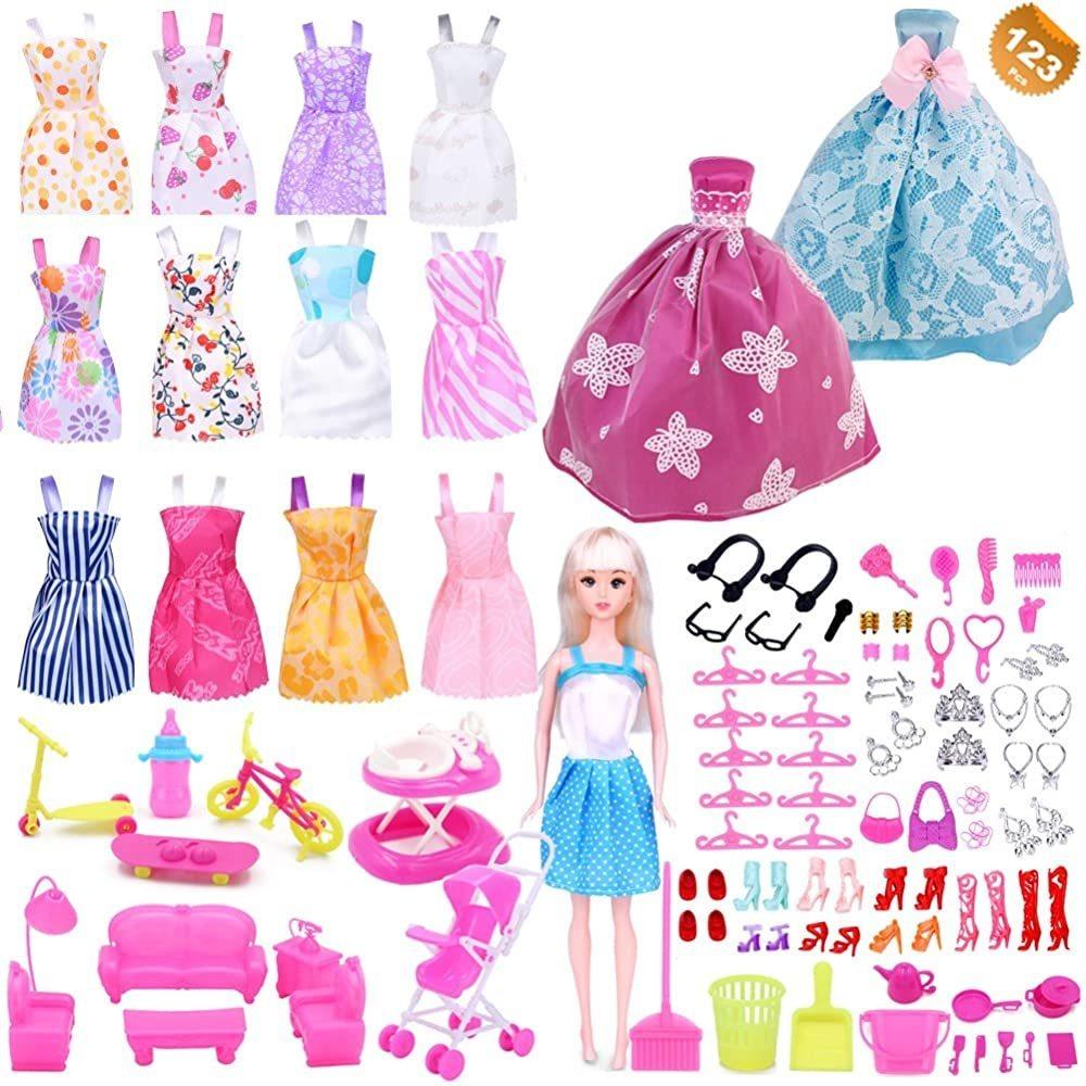color al azar . Juego de ropa y accesorios para muñecas Barbie de 123 piezas