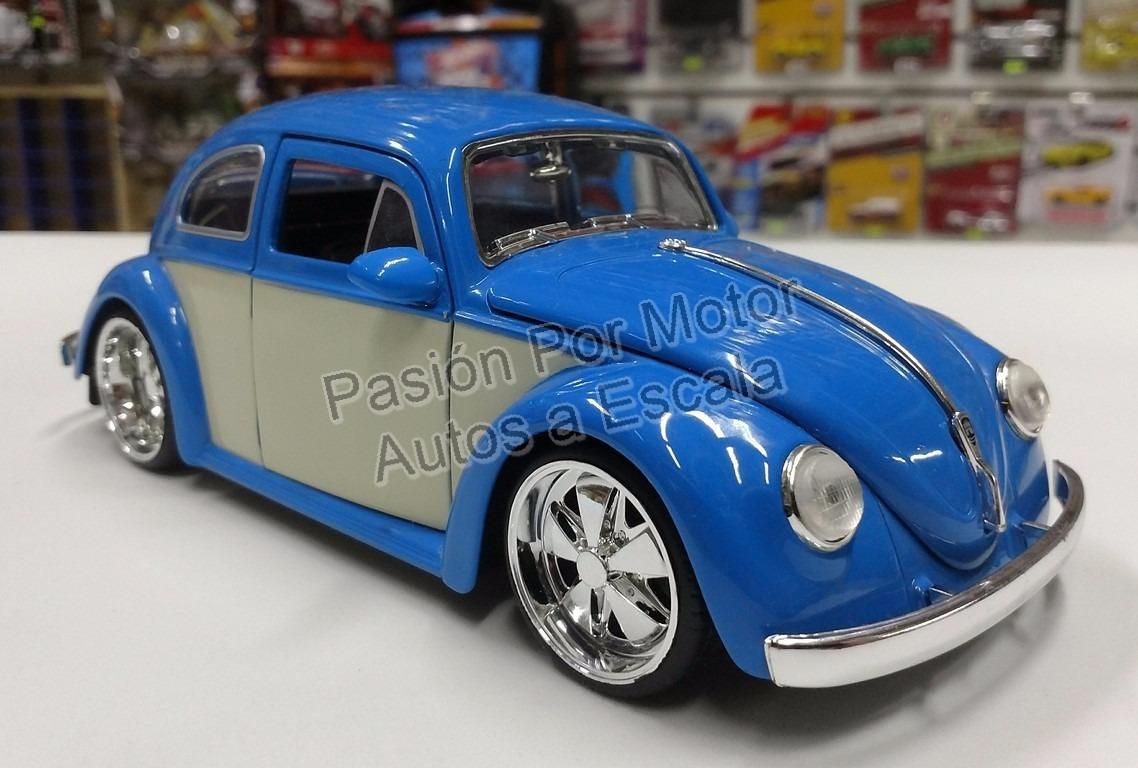 volkswagen beetle  azul  beige jada vocho display  en mercado libre