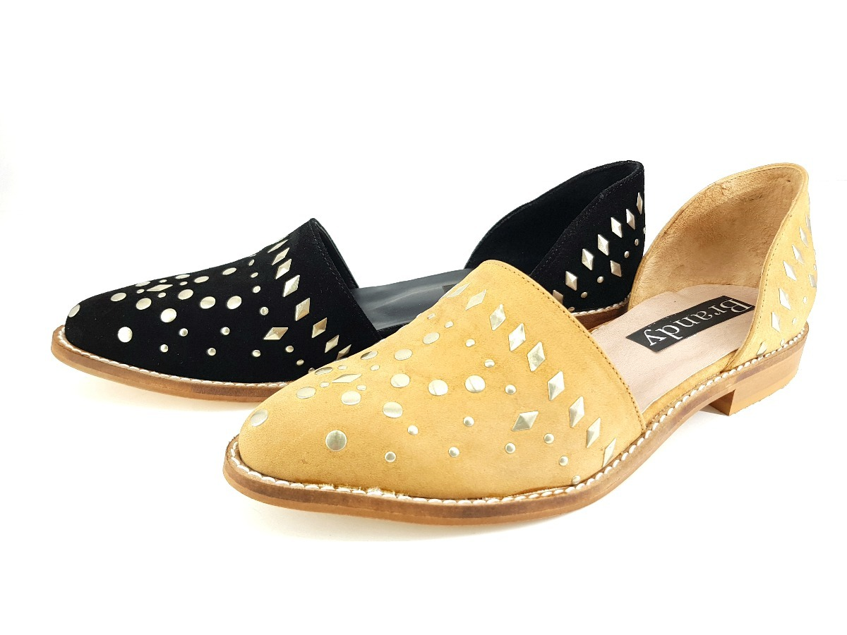 Dama Chata Bajo 2018 125fb Zapato Mujer Talon Con Tachas rdBthxosQC