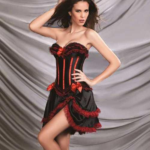 126- vestido corset muy sexy -strapless de satin color negro