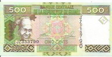 127 - cédula estrangeira-guinee-cinq cents francs guineens