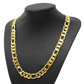 2a0e56470f24 12mm 18k Amarillo Oro Lleno Hombres 's Collar Bordillo Caden