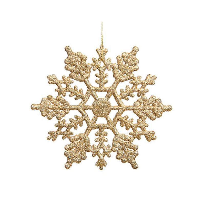12pcs 10x10cm Copo De Nieve Adornos De Navidad... (golden ...