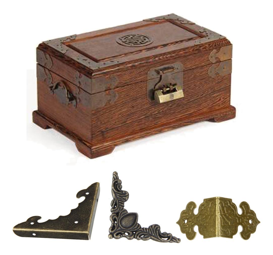 12xretro Joyas De Bronce Protector De La Decoraci/ón Libro /álbum Caja De La Caja De Regalo De Madera De Esquina