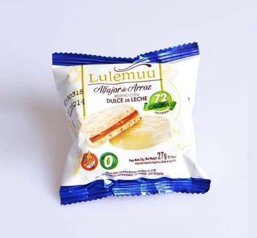 12u alfajor de arroz lulemuu dulce de leche y chocolate