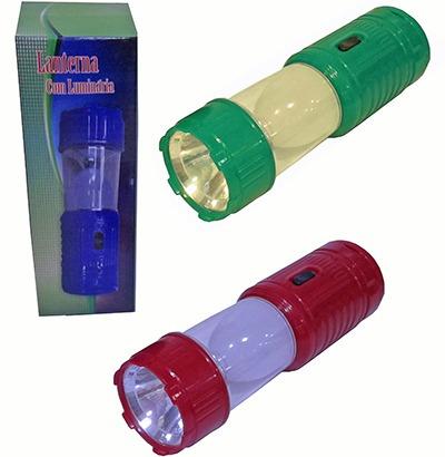 12un lanterna led com luminaria recarregavel ou pilha