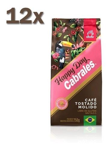 12x cafe molido cabrales happy day 250gr 3kg sin tacc
