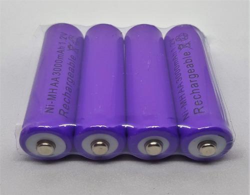 12x pila bateria recargable aa de 3000mha morada la mejor