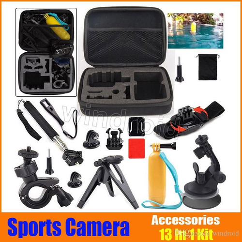 13 in 1 gopro sport kit accesorios + shockproof carry case