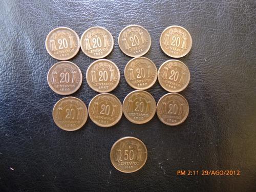 13 monedas serie completa 20 centavos 1942 1953 (carp33