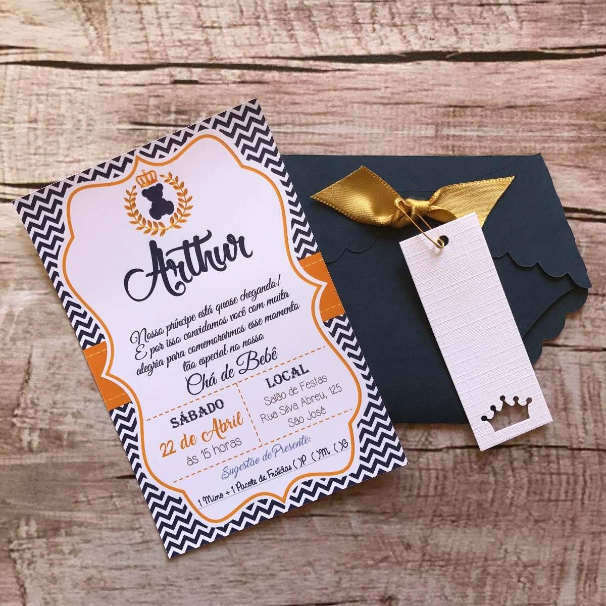 130 Convites Chá De Fraldas Bebê Príncipe Azul E Dourado R 348