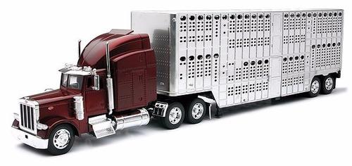 1:32 trailer tractocamion peterbilt jaula ganadero a escala