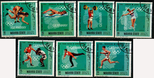 1330 olimpiadas 64 south arabia 7 sellos cto 1964