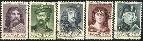 1360 personajes ilustres hungría 5 sellos cto  n h 1952