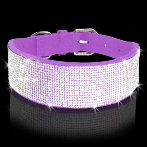 14-18  rhinestone bling diamante medio collares gamuza para
