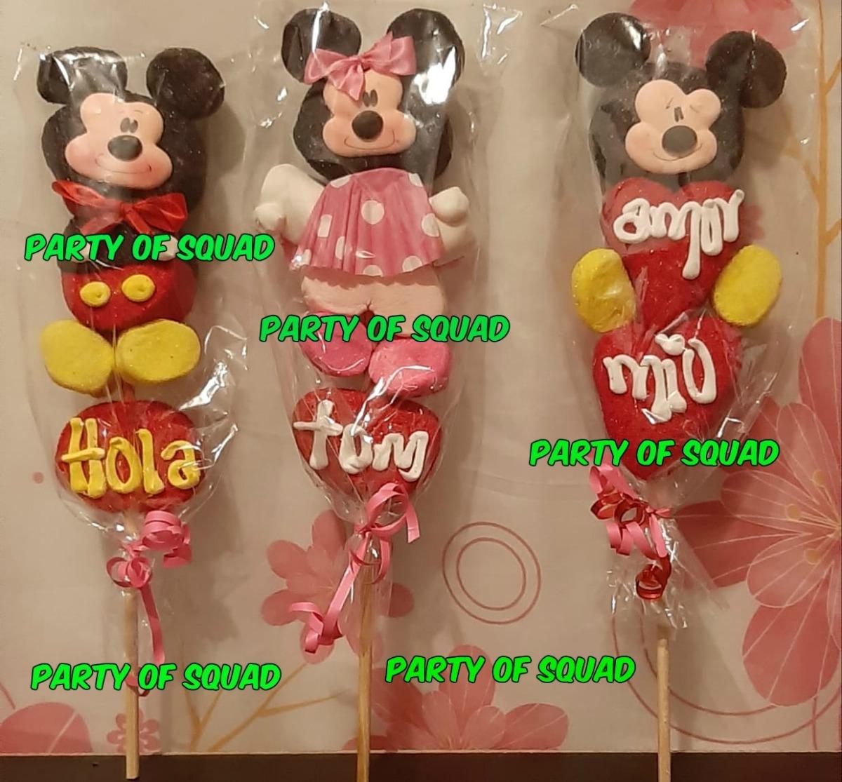 14 De Febrero Regalo 3 Paletas De Bombon Mickey Y Mimi