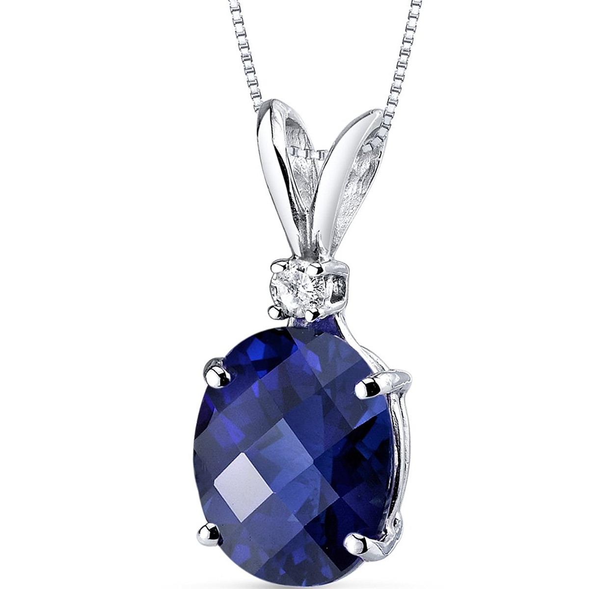 14 karat w 350 carats creados azul sapphire diamond pendant sapphire diamond pendant cargando zoom aloadofball Image collections