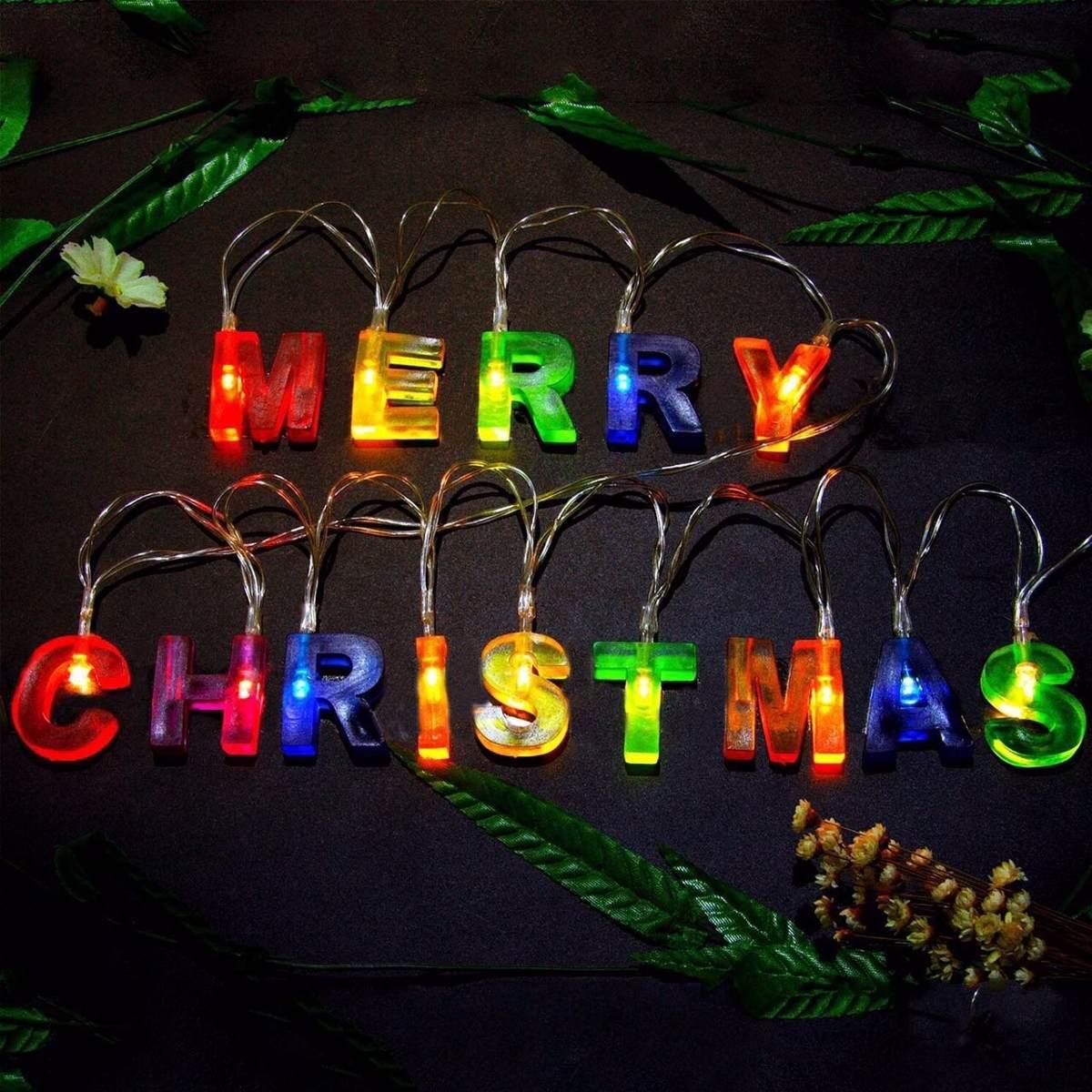 14 Luces Led Con Las Letras Feliz Navidad. Recesky