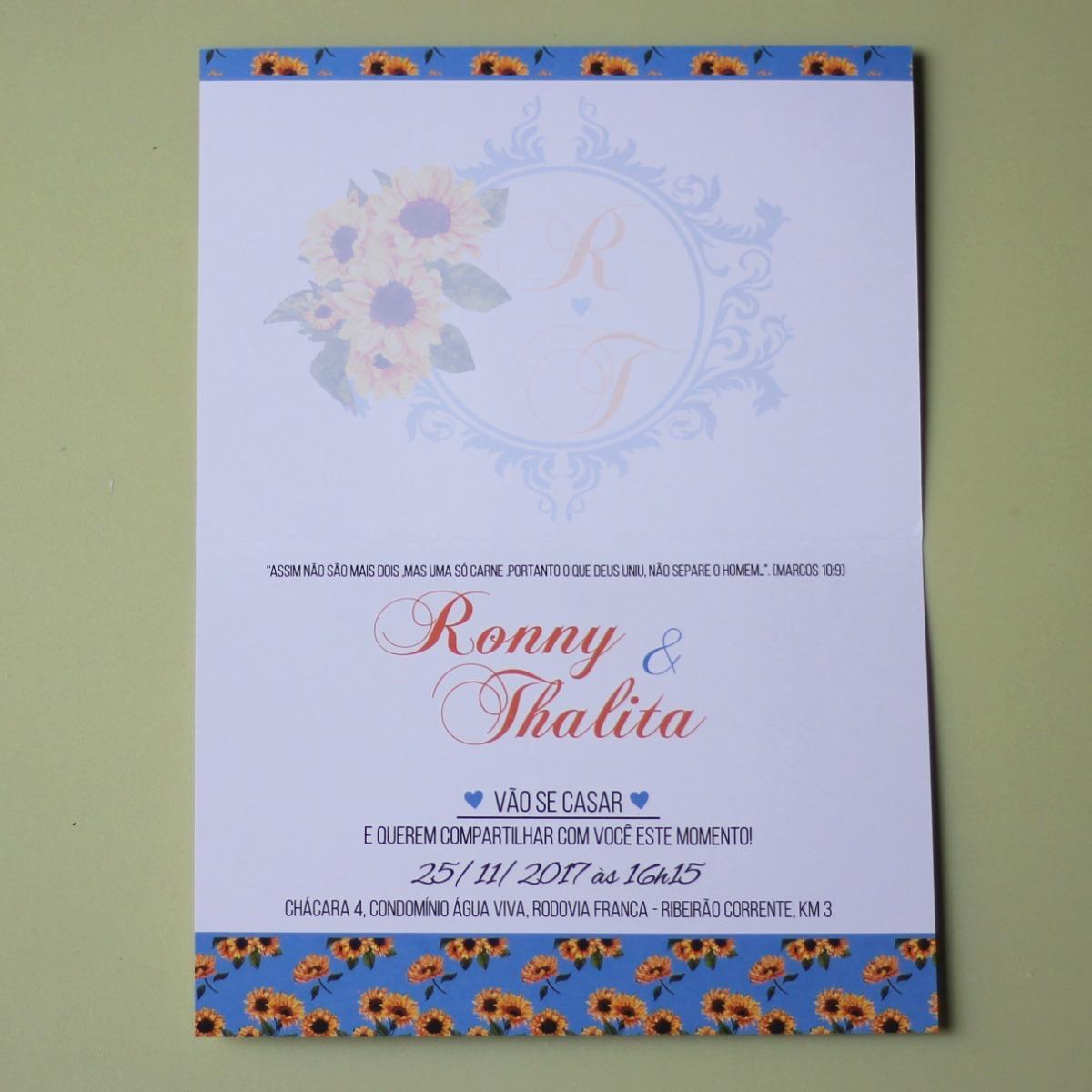 8f39accc066 140 Convites De Casamento Girassol Laço Brasão Tradicional - R  348 ...