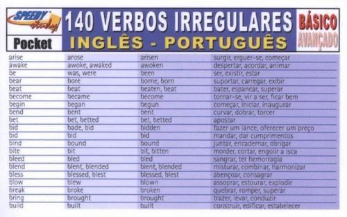 140 verbos irregulares básico - inglês-português - arte a