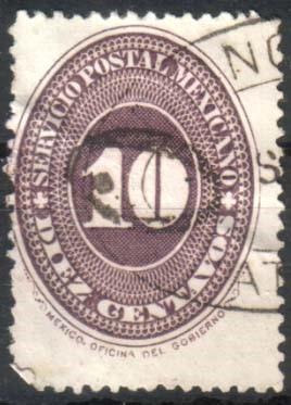 1406 clasico scott #177 numeral lila 1° e 10c usado 1886