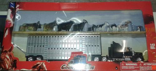 1:43 trailer tractocamion kenworth jaula con ganado a escala