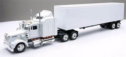 1:43 trailer tractocamion kenworth w900 blanco a escala