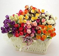 144 botões rosas várias cores - flores artificiais flor